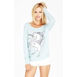 NWT Wildfox White Label  Sequin Unicorn Sweater